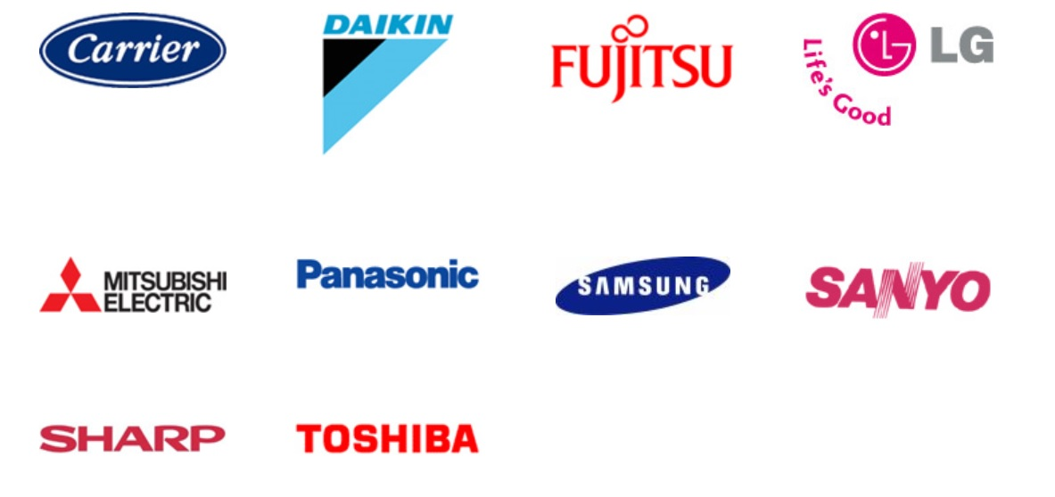 Aircon Brands Carrier, Daikin, Fujitsu, LG, Mitsubishi Electric, Panasonic, Samsung, Sanyo, Sharp, Toshiba